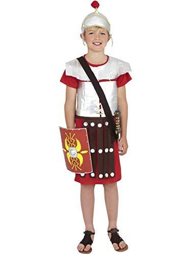 Luxuspiraten - Jungen Kinder römischer Soldat Krieger Kostüm mit Tunika und Helm, perfekt für Karneval, Fasching und Fastnacht, 122-134, Rot