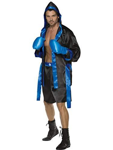 Fancy Ole - Herren Männer Männer Schwergewichts Box Weltmeister Kostüm mit Robe, Shorts, Gürtel und Boxhandschuhe, one Size, perfekt für Karneval, Fasching und Fastnacht, M, Schwarz