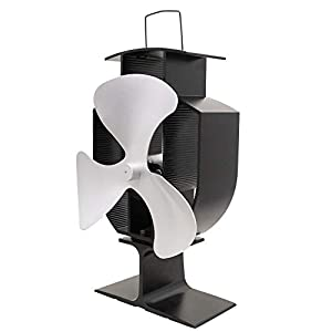 Lincsfire 3 Blades Eco Friendly Stove Fan Heat Powered for Wood Burner/Fireplace Silver