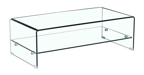 Meubletmoi tavolino in vetro temperato-con mensola vetro rettangolare-design salotto moderno-ice