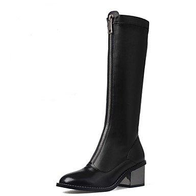 RTRY Scarpe da donna in pelle di Nappa di moda invernale Stivali Stivali Stivali Mid-Calf per Casual Bianco Nero US5.5 / EU36 / UK3.5 / CN35