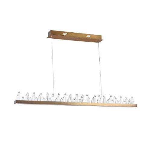 Interessante Moderne LED Pendelleuchte, Metall-Rahmen in Farbe Messing, Zahlreiche dekorative Glass-Kristalle, 2270 Lumen, 4000 Kelvin, neutral weißes Licht, inkl. LED Modul, 40W, 220V-240V