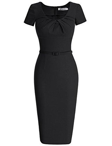 MUXXN Damen 1950's Retro Rundhals Kurzarm Abend Bleistift kleid Vintage Kleider Partikleid Business Kleid(S, Black) (Jahre, 1960er 60er-jahre-baumwolle)