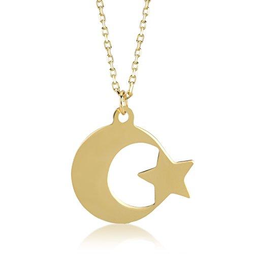 Gelin Damen Halskette 14 Karat 585 Echt Gelbgold Stern und Mond als Anhänger Goldkette Kettenlänge 45cm