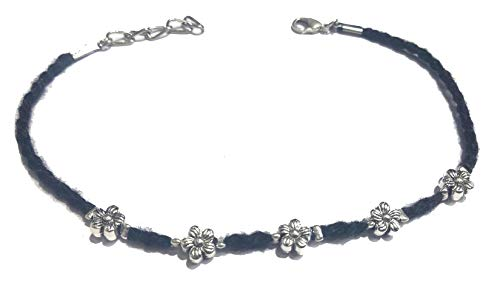 Gurjai Black Brass Thread Anklet with Carving Oxidised Beads for Women