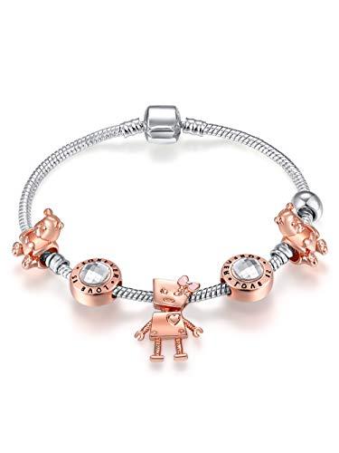 überzogener Roboter Bär Charm Armband Silber überzogene Kette, Geschenk für Mädchen Kinder Weihnachtstag ()