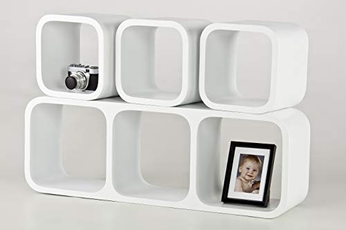 decodelic großes 3er + 4er Set Nightfever Lounge Regal Cube Retro Style Wandregal (weiß)