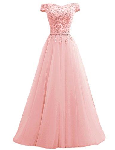 Clearbridal Damen Ballkleid Prinzessin Abendkleid Lang Elegant Maxikleid Schulterfrei mit Spitze C180404 Rosa Gr.32