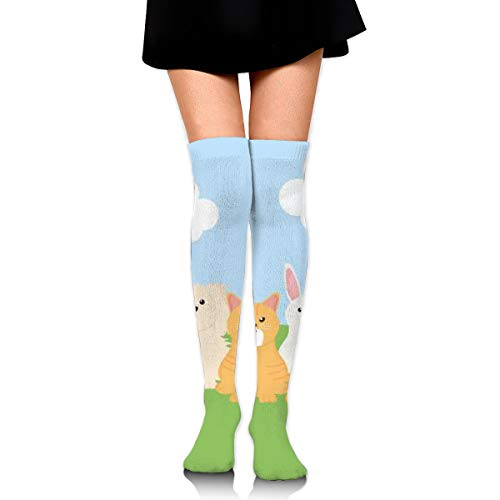Group Of Mascots With Food Bag In The Field Women's Over Knee Thigh Socks Girl High Stockings 65 Cm/25.6In -