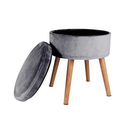 LGQ-LIFE Runder Osmanischer Aufbewahrungshocker , Abnehmbarer Multifunktions-Make-up-Stuhl Gepolsterter Fußhocker Runder Leinen-Pouf (Color : B) -