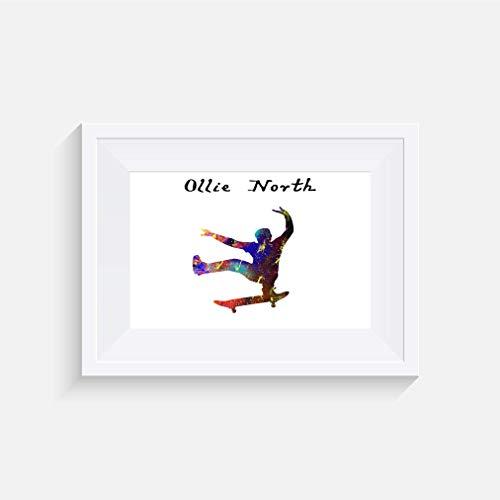 Skateboard Ollie north Zitat Inspirier - Drucken - Poster - Aquarell - Wandkunst- verschiedene Größen(Rahmen Nicht Inbegriffen)