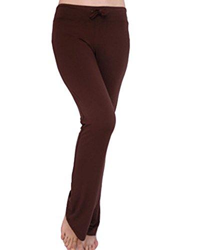 Donne Casuale Lunghi Yoga Pantaloni Danza Allenamento Pantaloni Con Coulisse Marrone