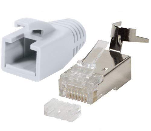 odedo® 10er Pack Crimpstecker weiß CAT 7, CAT 7A, CAT 6A für Verlegekabel bis 8mm 10GBit Gigabit Netzwerkstecker starre oder Flexible Adern 1.2mm-1.45mm RJ45 Stecker Metall geschirmt + Einfädelhilfe -