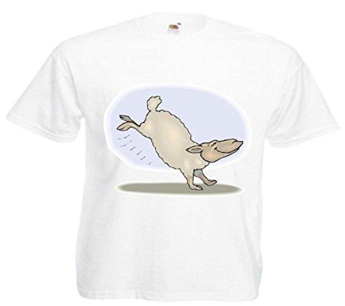 Motiv Fun T-Shirt Schafe Tanzen Cartoon Spass Kult Film Serie Motiv Nr. 12485 Weiß