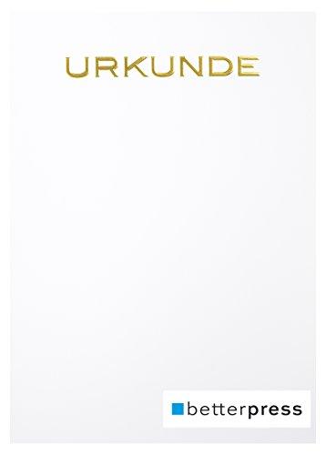 Urkunden Vordrucke Drucker Papier geprägt Reliefprägung 200 g/m² din a4 10 Stück weiß Betterpress Premiumqualität (Gold)