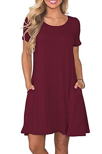 Sommerkleid Damen Casual Lose Kurzarm T-Shirt Kleider Elegant Plain Strand Kleider mit Taschen Bordeaux XX-Large