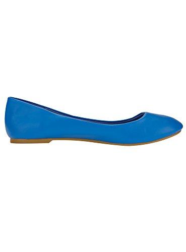 oodji Ultra Damen Kunstleder-Ballerinas Basic Blau (7500N)
