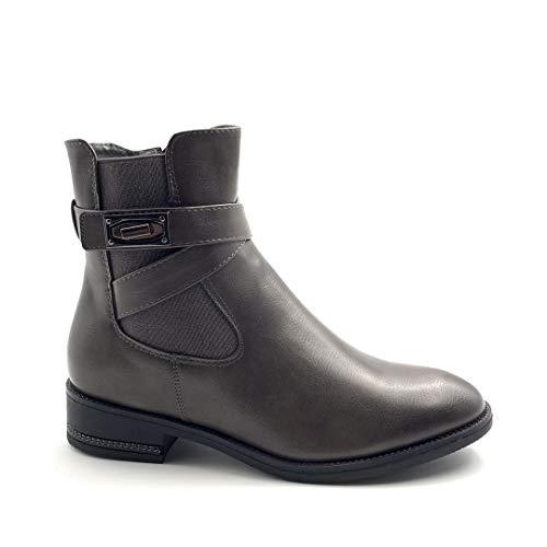 Angkorly - Damen Schuhe Stiefeletten Stiefel - Biker - Chelsea Boots - Rock - gekreuzte Riemen - Nieten-Besetzt - Schleife Blockabsatz 3.5 cm - Grau FR200 T 41