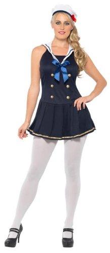 Smiffys SMIFFY 'S Sailor Girl Kostüm mit Kleid und Hut-Marine, Groß