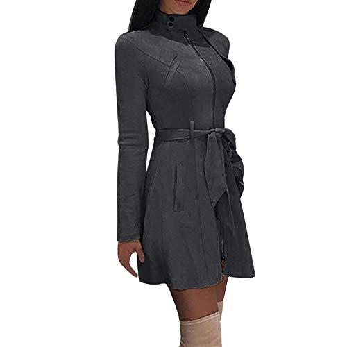 Berimaterry Damen Windjacke Lang Dress MantelElegant Mode Frauen Solide Rollkragenpullover Reißverschluss Bogen Verband Langen Mantel