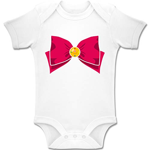 Shirtracer Karneval und Fasching Baby - Superheld Manga Moon Kostüm - 3-6 Monate - Weiß - BZ10 - Baby Body Kurzarm Jungen - Baby Mädchen Superheld Kostüm