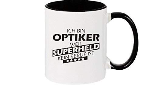 Shirtstown Kaffeepott beidseitig mit Motiv bedruckt Ich bin Optiker, weil Superheld kein Beruf ist, Farbe schwarz