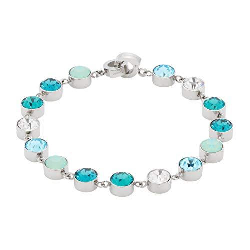 JEWELS BY LEONARDO DARLIN'S Damen-Armband Oceano, Edelstahl mit Glassteinen in klar und mehreren Blautönen, CLIP & MIX System, Länge 185 mm, 016227