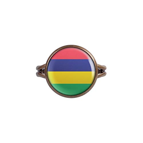 Mylery Ring mit Motiv Mauritius Port Louis Flagge bronze 14mm -