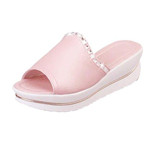 Transer® Damen Blockabsatz Slipper Strass Hellblau Weiß Rosa Kunstleder+Kunststoff Hausschuhe (Bitte achten Sie auf die Größentabelle. Bitte eine Nummer größer bestellen. Vielen Dank!) Rosa