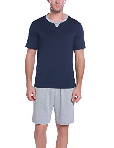 iClosam Pijama Hombre Verano Algodón Corto Casual,Camiseta y Pantalones Cortos Moda y Cómodo Ropa de Dormir Set