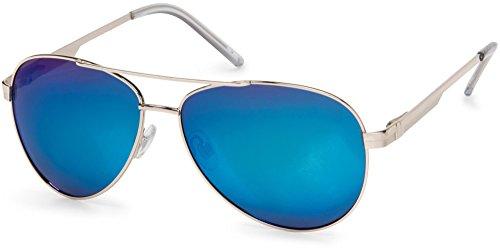 styleBREAKER polarisierte Sonnenbrille, Pilotenbrille mit Federscharnier, Etui und Putztuch, Unisex 09020046, Farbe:Gestell Silber/Glas Blau verspiegelt