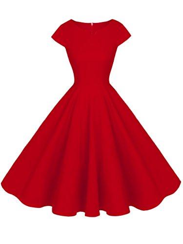 (FAIRY COUPLE 1950S Retro Rockabilly Tupfen Kappen Hülsen Abschlussball Kleid DRT019(M,Rot))