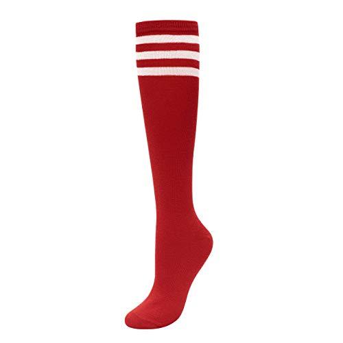 CHIC DIARY Kniestrümpfe Damen Mädchen Fußball Sport Socken College Cheerleader Kostüm Strümpfe Cosplay Streifen Strumpf -