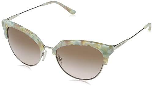 Michael Kors Damen SAVANNAH 334013 54 Sonnenbrille, Pastel Green Mosaic/Shiny Silv/Brownpeachgradient,