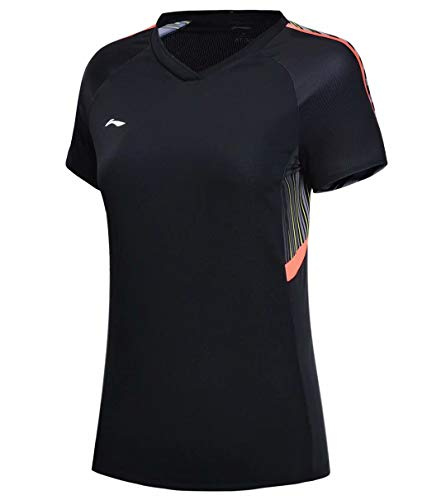 Li Ning AYN024 Damen Badminton Wettkampf-T-Shirts Trikots Futter National Team Sponsor Atmungsaktiv Sport Tee Tops - Schwarz - Klein