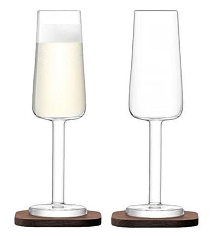 LSA International City Bar Champagne Flute with Walnut Coaster, Glass, Clear, 200 ml, Set of 2