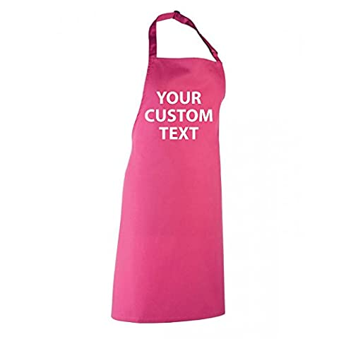 Personalised CUSTOM text BIB Chef Apron with front BIB PR150 one size - HOT-PINK
