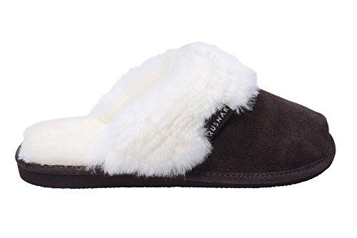 Femmes Luxe Peau De Mouton Pantoufles Chaussons Avec Double Chaud Laine Manchette Marron/Blanc