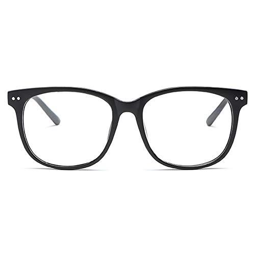 KOOSUFA Klassische Retro Nerdbrille Herren Damen Federscharniere Brille Ohne Sehstärke Streberbrille Brillengestelle Groß Rund Pantobrille Vintage Brillenfassung mit Etui (Matt Schwarz)