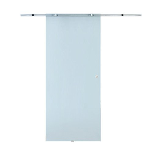 HOMCOM Porta Scorrevole Interno Vetro Smerigliato con Binario in Alluminio 90 × 205 × 0.8cm
