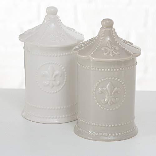Barattolo SALE in porcellana bianca Shabby L10xPR10xH16,5 cm