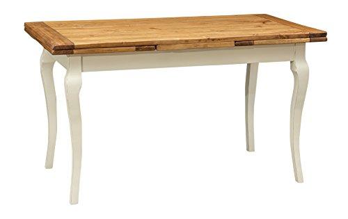Tavolo allungabile in Legno massello di Tiglio - Stile Country/Shabby - Struttura Bianca Anticata Piano Naturale L140xPR80xH80
