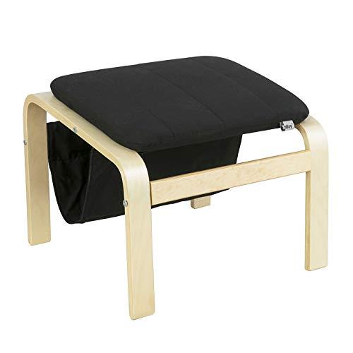 SoBuy FST52-SCH Fußhocker mit Magazinhalter Hocker zum Abstützen der Füße Fußablage für Relax Sessel schwarz BHT ca.: 51x42x50 cm