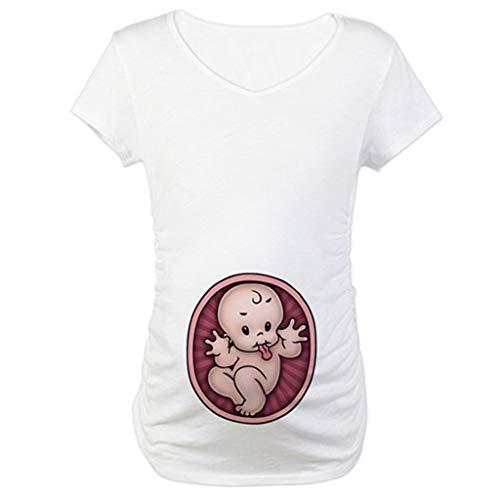 Smallshow Camicia Allattamento T-Shirt Premaman Manica Corta Top Premaman Abbigliamento Premaman Camicia Gravidanza Manica Corta Volant