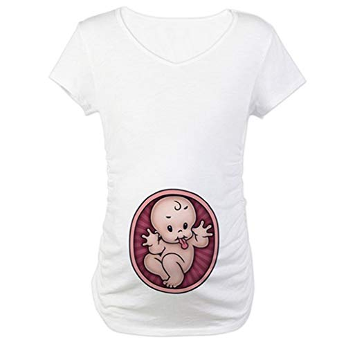 Lenfesh Damen T-Shirt Top Oberteil Schwangere Kurzarm Umstands Tshirt Umstandstop Umstandsmode Baumwolle Schwangerschaft Shirt Empire Scoop
