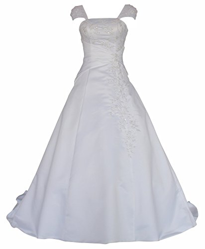 Romantic-Fashion Brautkleid Hochzeitskleid Weiß Modell W054 A-Linie Satin Stickerei Perlen Pailetten DE Größe ()