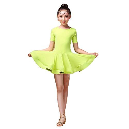 Belingeya Kinder tanzen Kostüme Kid Mädchen Kurzarm Spandex Latin Rumba Samba Tanzkleid Ballsaal Dancewear Tutu Professionelle Bühne Leistung Wettbewerb Tanzkleid Kostüm - Dancewear Tutu Kostüm