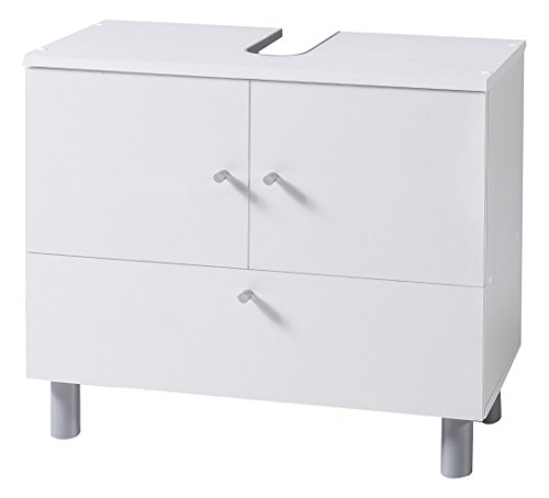 WILMES 85003-75 0 75 Badmöbel, Waschbecken Unterschrank, Badezimmerunterschrank Holz, Weiß Melamin Dekor, 32 x 60 x 54 cm
