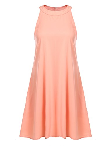 Zeagoo Robe de Cocktail Robe de Tunique Sans Manche Col Halter Solides Poche Lâche Casual Couleur corail