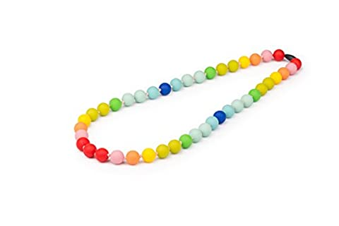 SEYSSO 'HAPPY DAY' Silicone Teething Necklace For Babies ? Safe and Certified Chewable Teether ? Colourful, Red, Yellow, Green, Blue, Pink and Orange ? SEYSSO Baby Teething Accessories.